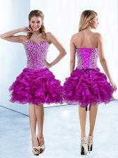 Knee Length Lace Up Prom Dresses Fuchsia for Prom and Party with Beading and Ruffles and Pick Ups