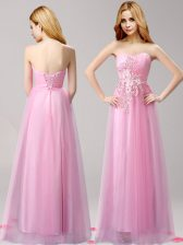 Rose Pink Lace Up Sweetheart Beading and Appliques Homecoming Dress Tulle Sleeveless