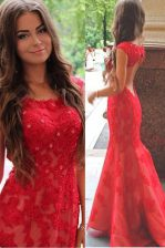 Mermaid Scoop Red Cap Sleeves With Train Lace and Appliques Backless Prom Dresses
