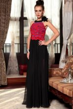 Scoop Red And Black Chiffon Side Zipper Prom Dresses Sleeveless Floor Length Ruching and Hand Made Flower