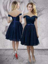 Off the Shoulder Navy Blue Chiffon Lace Up Prom Party Dress Sleeveless Knee Length Bowknot