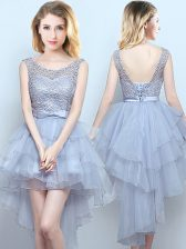 Beautiful Scoop Grey Sleeveless High Low Lace and Ruffles and Belt Lace Up Court Dresses for Sweet 16