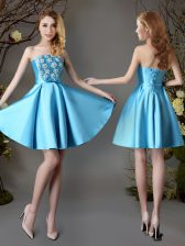 Sleeveless Satin Mini Length Lace Up Dama Dress in Baby Blue with Appliques and Bowknot