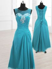 Teal Chiffon Lace Up Scoop Sleeveless Floor Length Prom Dress Beading and Ruching
