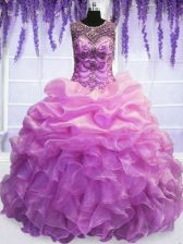 Fancy Lilac Sweet 16 Dress Military Ball and Sweet 16 and Quinceanera with Beading and Pick Ups Scoop Sleeveless Lace Up