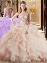 Simple Scoop Tulle Sleeveless Quinceanera Dresses Brush Train and Beading and Ruffles