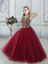 Classical Wine Red Ball Gowns Scoop Sleeveless Tulle Floor Length Lace Up Beading Little Girls Pageant Dress