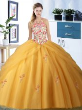 Modest Pick Ups Ball Gowns 15 Quinceanera Dress Gold Halter Top Tulle Sleeveless Floor Length Lace Up