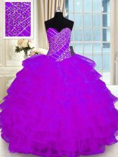 Fitting Purple Ball Gowns Organza Sweetheart Sleeveless Beading and Ruffled Layers Floor Length Lace Up Sweet 16 Dress