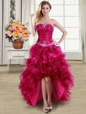 Fuchsia Strapless Lace Up Beading and Ruffles Prom Evening Gown Sleeveless