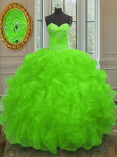 Beading and Embroidery and Ruffles 15th Birthday Dress Lace Up Sleeveless Floor Length