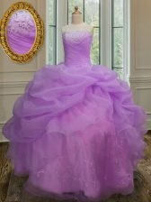 Fitting Sleeveless Lace Up Floor Length Embroidery and Pick Ups Quinceanera Gowns