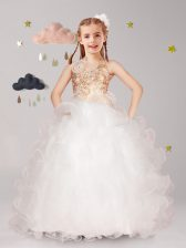 Extravagant Halter Top Sleeveless Organza Floor Length Lace Up Flower Girl Dresses for Less in White with Beading and Ruffles and Hand Made Flower