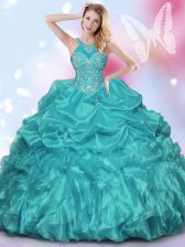 Halter Top Sleeveless 15th Birthday Dress Floor Length Appliques and Ruffles and Pick Ups Teal Organza and Taffeta