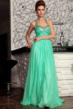 Custom Fit Halter Top Chiffon Sleeveless Prom Dresses Sweep Train and Beading