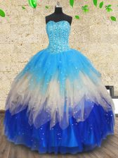 On Sale Multi-color 15th Birthday Dress Military Ball and Sweet 16 and Quinceanera with Beading and Ruffles and Ruffled Layers Sweetheart Sleeveless Lace Up
