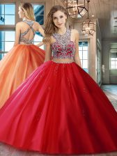 Scoop Red Tulle Criss Cross 15 Quinceanera Dress Sleeveless With Brush Train Beading and Appliques