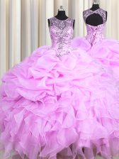 Designer See Through Lilac Ball Gowns Scoop Sleeveless Organza Floor Length Lace Up Beading and Ruffles and Pick Ups Quinceanera Dress
