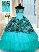Strapless Sleeveless Sweet 16 Dress Sweep Train Beading and Ruffled Layers Aqua Blue Organza and Printed