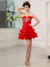 Red Prom Dress Prom and Party with Beading and Ruffled Layers Sweetheart Sleeveless Lace Up