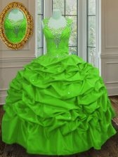 Nice Straps Cap Sleeves Floor Length Beading and Pick Ups Lace Up Quinceanera Gowns with