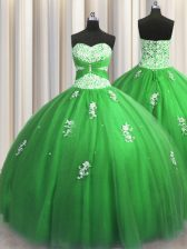 Top Selling Ball Gowns Tulle Sweetheart Sleeveless Beading and Appliques Floor Length Lace Up 15 Quinceanera Dress