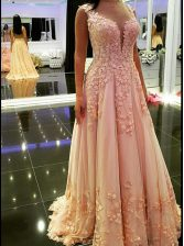 Sleeveless Floor Length Appliques Backless Prom Dresses with Peach