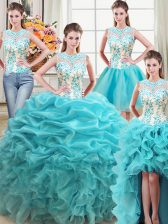 Four Piece Organza Scoop Sleeveless Lace Up Beading and Ruffles Quinceanera Gowns in Aqua Blue