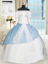 Superior Off the Shoulder Blue And White Taffeta Lace Up Sweet 16 Dresses Long Sleeves Floor Length Lace and Bowknot