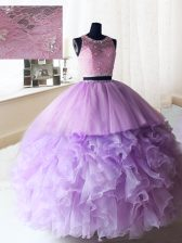 Scoop Sleeveless Floor Length Beading and Ruffles Zipper Quince Ball Gowns with Lilac