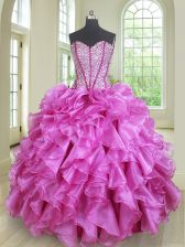 Beauteous Sleeveless Floor Length Beading and Ruffles Lace Up Ball Gown Prom Dress with Lilac