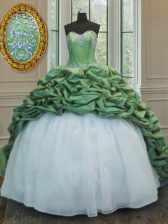 Glamorous Green Quinceanera Gown Military Ball and Sweet 16 and Quinceanera with Beading and Appliques and Pick Ups Sweetheart Sleeveless Sweep Train Lace Up