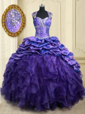 Purple Quince Ball Gowns Military Ball and Sweet 16 and Quinceanera with Beading and Ruffles and Pick Ups Straps Cap Sleeves Brush Train Lace Up