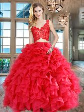 Sexy Organza Sleeveless Floor Length 15 Quinceanera Dress and Lace and Ruffles