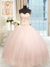 Baby Pink Satin and Tulle Lace Up Quinceanera Gown Sleeveless Floor Length Beading and Embroidery