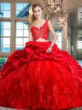 V-neck Sleeveless Quince Ball Gowns Brush Train Lace and Ruffles and Pick Ups Red Taffeta and Tulle