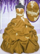 Exquisite Brown Lace Up Strapless Appliques and Pick Ups Vestidos de Quinceanera Taffeta Sleeveless