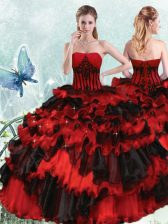 Discount Red And Black Strapless Lace Up Appliques and Ruffled Layers Quince Ball Gowns Sleeveless