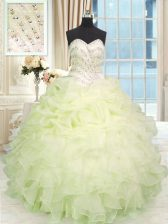 Elegant Light Yellow Ball Gowns Beading and Ruffles Quinceanera Gowns Lace Up Organza Sleeveless Floor Length