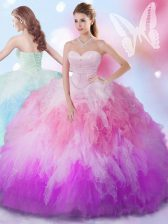 High End Multi-color Tulle Lace Up Sweetheart Sleeveless Floor Length Quinceanera Dresses Beading and Ruffles