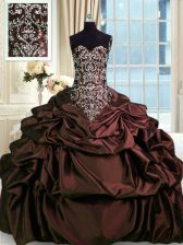 Shining Burgundy Ball Gown Prom Dress Military Ball and Sweet 16 and Quinceanera with Beading and Embroidery and Pick Ups Sweetheart Sleeveless Zipper