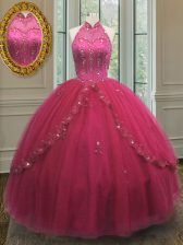 Halter Top Tulle Sleeveless Floor Length 15 Quinceanera Dress and Beading and Appliques