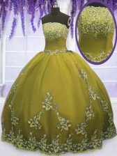 Strapless Sleeveless Tulle 15 Quinceanera Dress Appliques Zipper