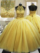 Glamorous Yellow Ball Gowns High-neck Sleeveless Tulle With Train Sweep Train Lace Up Beading Sweet 16 Dress