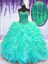 Turquoise Quinceanera Gowns Military Ball and Sweet 16 and Quinceanera with Beading and Ruffles Sweetheart Sleeveless Lace Up