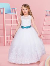 White Toddler Flower Girl Dress Quinceanera and Wedding Party with Beading and Lace and Bowknot Scoop Sleeveless Lace Up