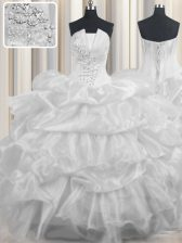 White Organza Lace Up Strapless Sleeveless Floor Length 15th Birthday Dress Beading and Ruffled Layers and Pick Ups