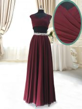 Ankle Length Two Pieces Cap Sleeves Burgundy Prom Dress Zipper