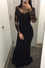 Mermaid Black Zipper Bateau Beading and Lace Prom Evening Gown Satin Long Sleeves