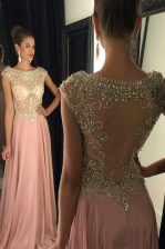 Luxurious Scoop Sequins Pink Sleeveless Chiffon Zipper Prom Dress for Prom and Party